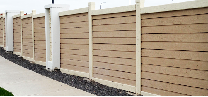 Concrete Cedar Residential Fence - Horizontal boards